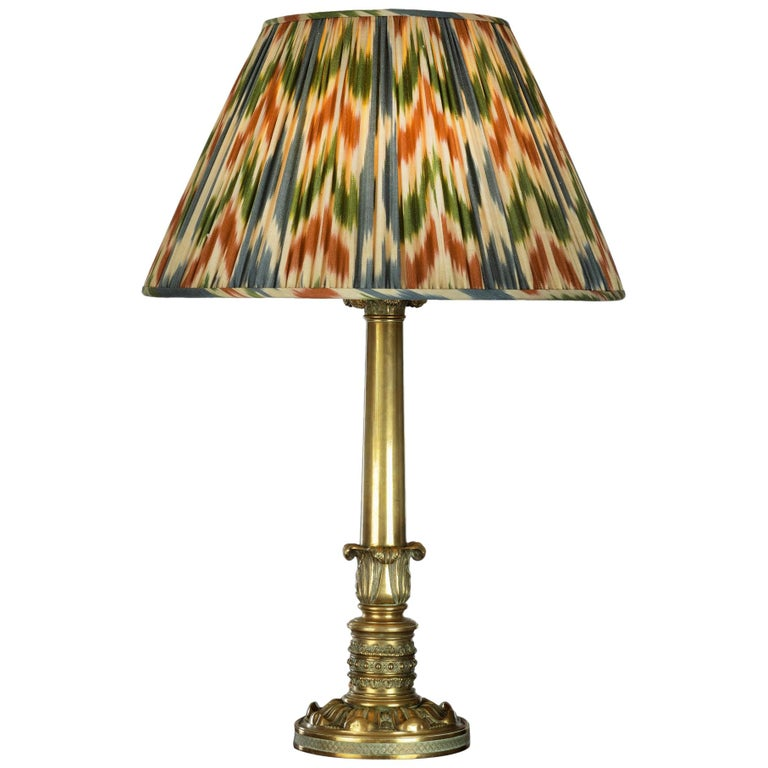 Regency Brass Table Lamp with Ikat Shade For Sale