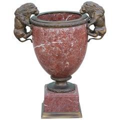 Regency Bronze Lion Verde Antico Jardinière in Red Marble Urn