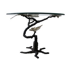 Regency Brutalist Style Torch Cut Bronze Tree Table