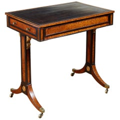 Regency Burl Yew and Ebony Writing Table