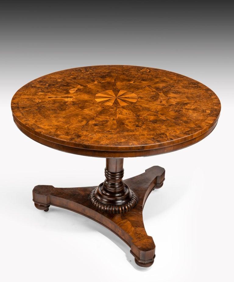 Regency Burr Yew Veneered Centre Table For Sale 6