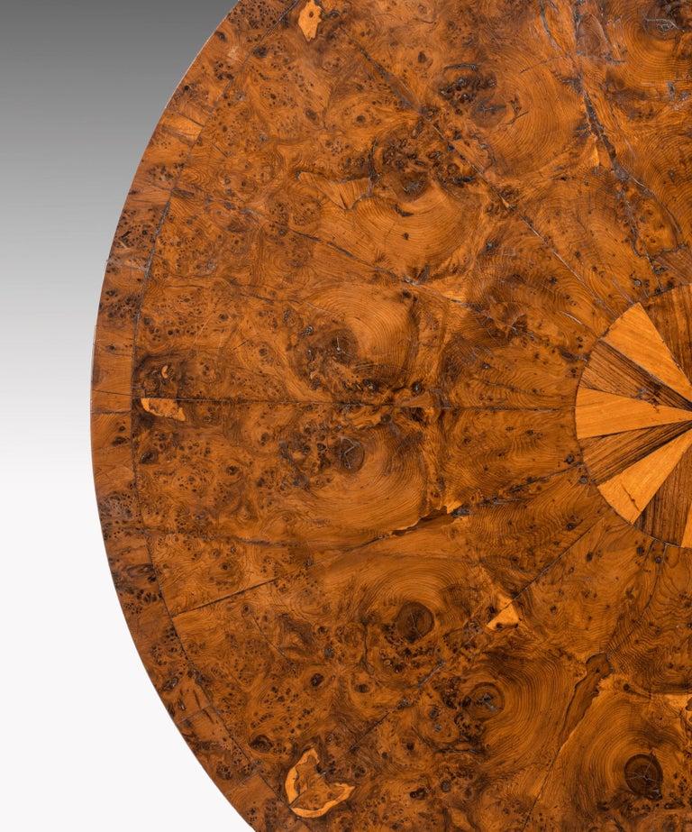 Regency Burr Yew Veneered Centre Table For Sale 1