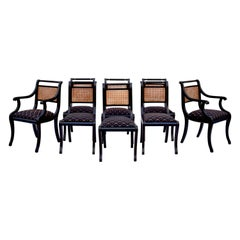 Regency Caned Dining Chairs Made in Italy, Set of 8