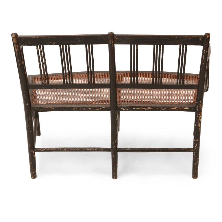 Regency Caned Settee In Good Condition For Sale In Houston, TX