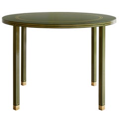 Regency Card Table by Billy Cotton in Green and Yellow Lacquer and Brass