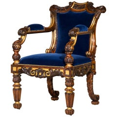 Regency Carved and Gilded Desk Armchair in Cobalt Blue Velvet