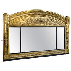 Regency Carved Giltwood and Gesso Overmantle Mirror