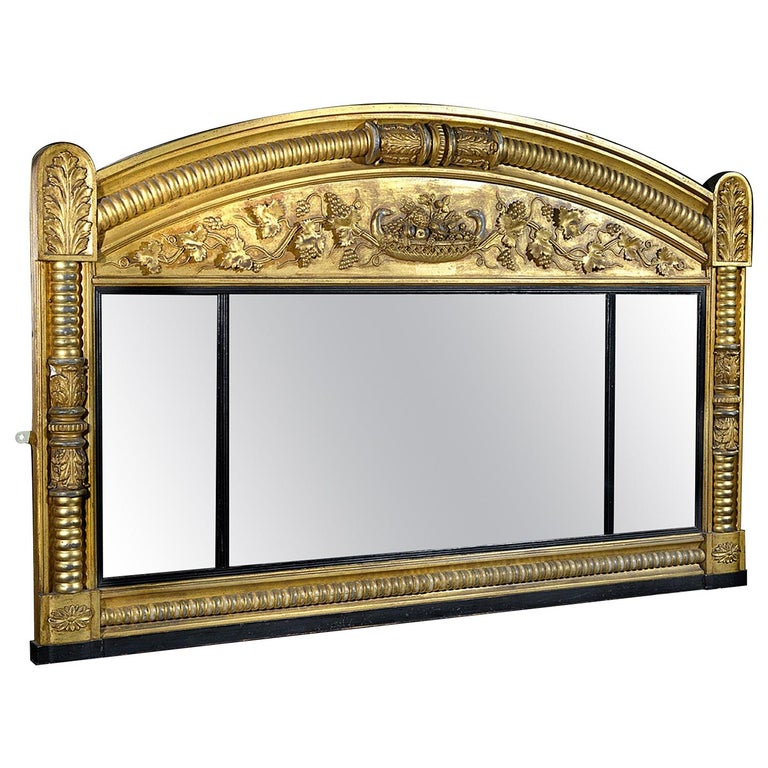 Regency Carved Giltwood and Gesso Overmantle Mirror For Sale