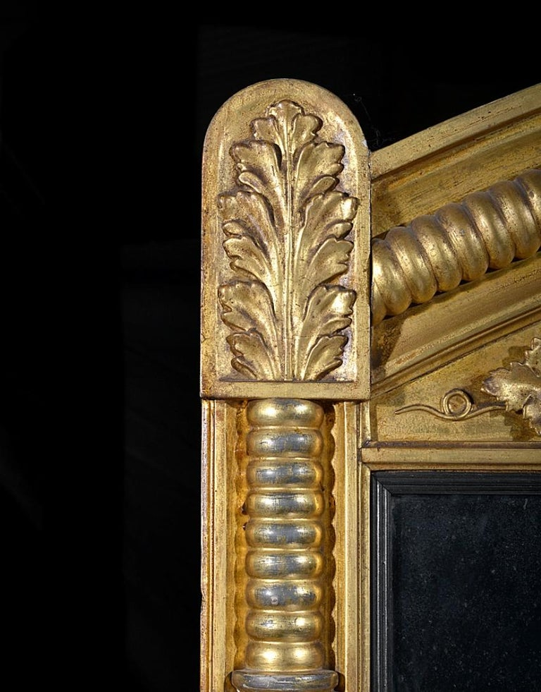 Regency Carved Giltwood and Gesso Overmantle Mirror For Sale 1
