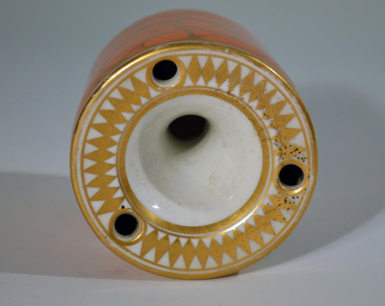 Regency Chamberlain Worcester Porcelain Feather-decorated Inkwell For Sale 2
