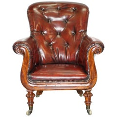 Regency Chesterfield Bordeaux Leather Porters Armchair in the Manner of Gillows