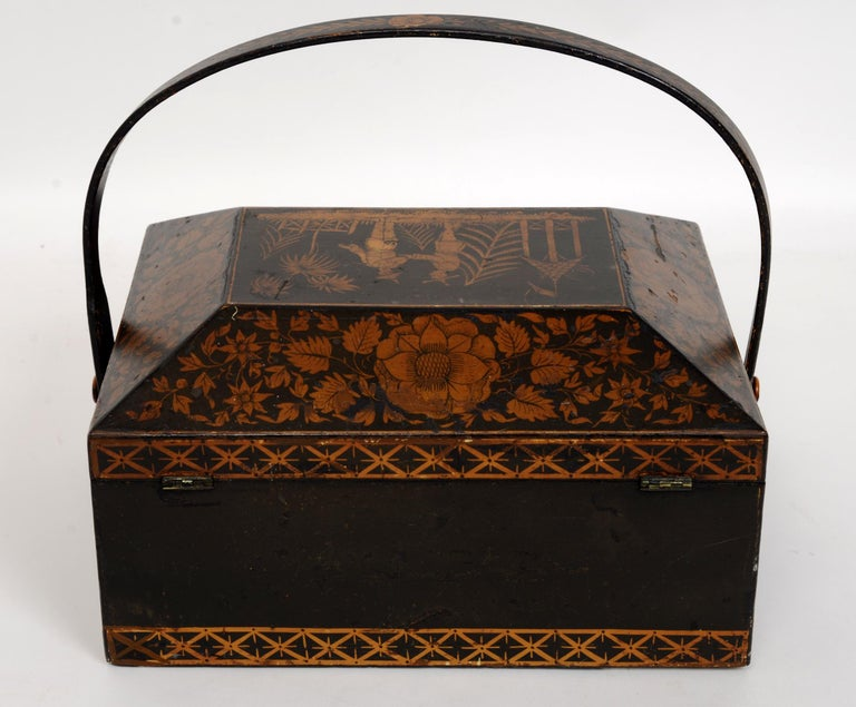 Painted Regency Chinoiserie Decorated Penwork Box with Swing Handle, circa 1810 For Sale