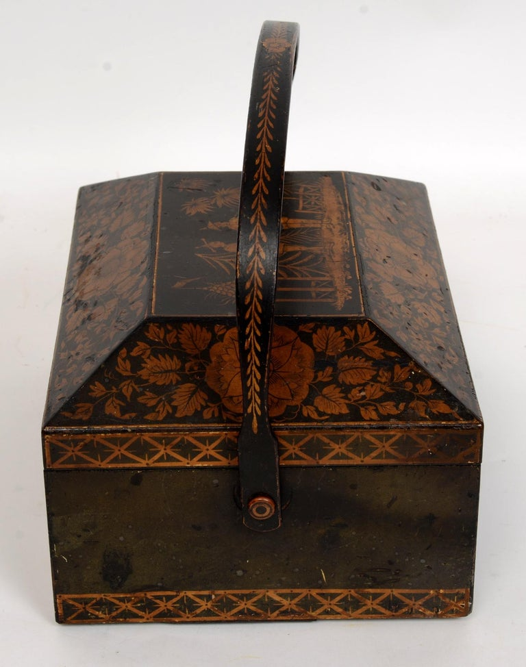 Regency Chinoiserie Decorated Penwork Box with Swing Handle, circa 1810 In Good Condition For Sale In valatie, NY