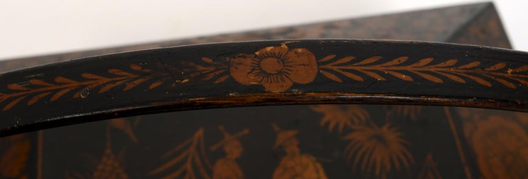 19th Century Regency Chinoiserie Decorated Penwork Box with Swing Handle, circa 1810 For Sale