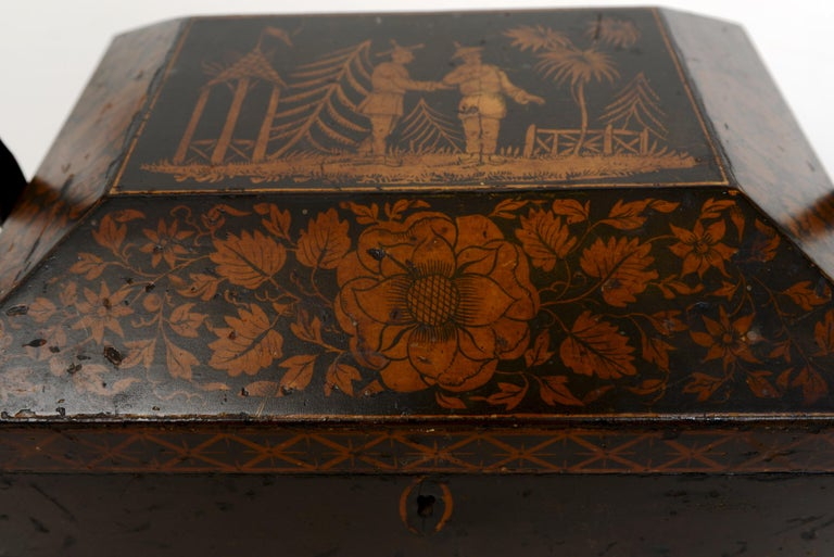 Wood Regency Chinoiserie Decorated Penwork Box with Swing Handle, circa 1810 For Sale