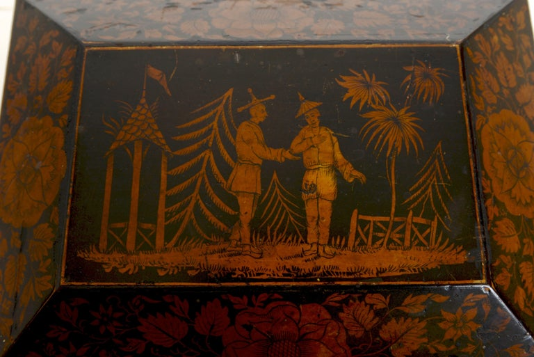 Regency Chinoiserie Decorated Penwork Box with Swing Handle, circa 1810 For Sale 1