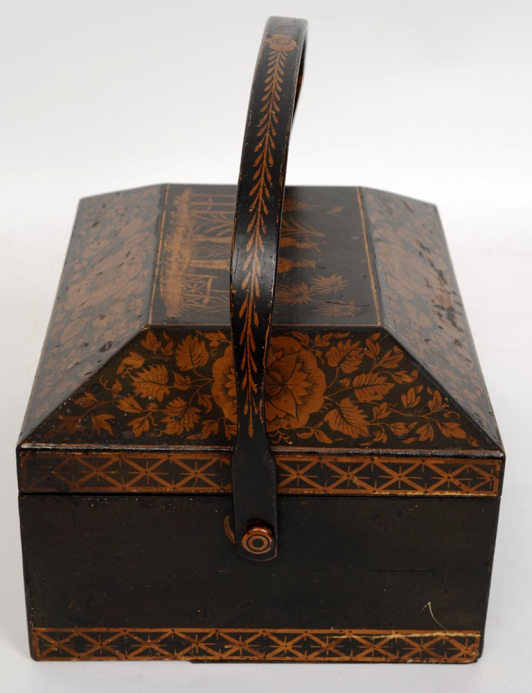 Regency Chinoiserie Decorated Penwork Box with Swing Handle, circa 1810 For Sale 2