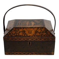 Regency Chinoiserie Decorated Penwork Box with Swing Handle, circa 1810