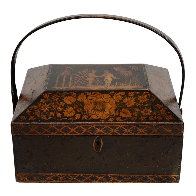 Regency Chinoiserie Decorated Penwork Box with Swing Handle, circa 1810 For Sale
