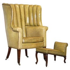 Regency circa 1815 Fluted Barrel Back Leather Wing Armchair and Matching Stool