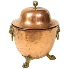 Regency Copper and Brass Urn-Form Coal Hod