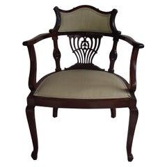 Regency Desk Armchair with Lite Green Silk Covered