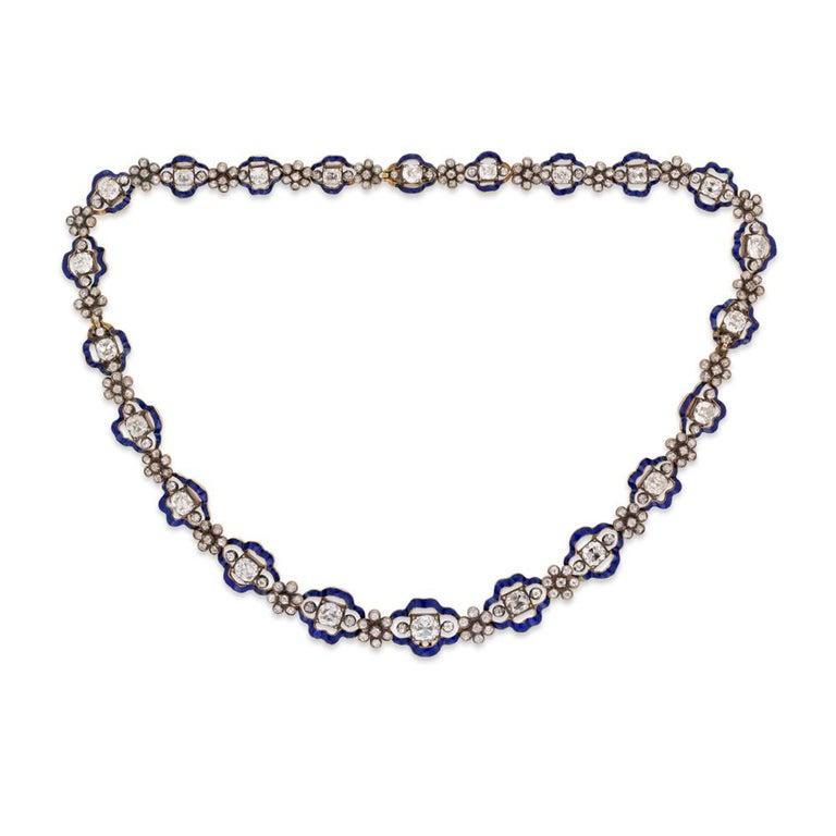 Georgian Regency Diamond Blue Enamel Cluster Necklace For Sale
