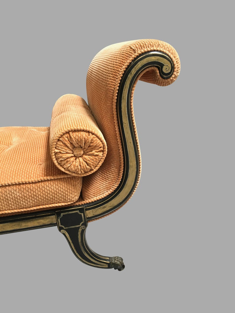 Regency Ebonized and Parcel-Gilt Chaise Lounge In Good Condition For Sale In San Francisco, CA