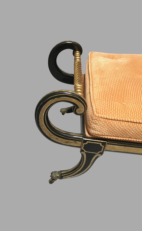 19th Century Regency Ebonized and Parcel-Gilt Chaise Lounge For Sale