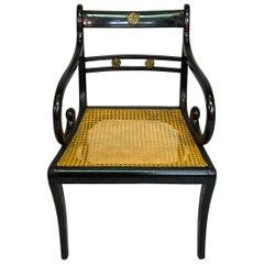 Regency Ebonized Caned Armchair
