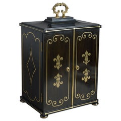 Regency Ebony and Brass Inlaid Collector's Cabinet