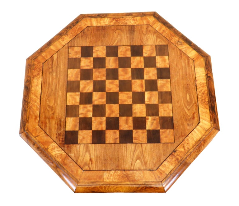 19th Century Regency English Antique Chess Top Occasional Table For Sale