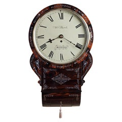 Regency English Coromandel Drop Dial Wall Clock by William Burch, Maidstone