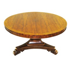 Regency English Rosewood and Brass Inlaid Centre Table