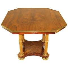 Regency English Rosewood, Parcel Gilt and Brass Centre Table