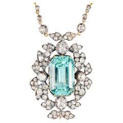 """Regency Era Diamond & Aquamarine Pendant """"Bridgerton Period"""""""