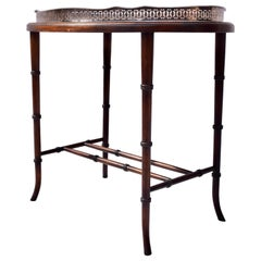 Regency Faux Bamboo Walnut and Silver Plate Tray Table