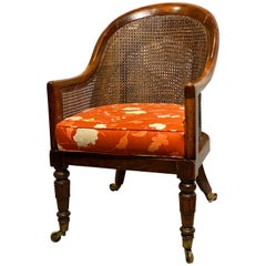 Regency Faux Rosewood Caned Tub Chair