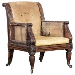 Regency Faux Rosewood Library Armchair