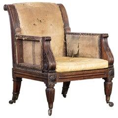 Regency Faux Rosewood Library Armchair