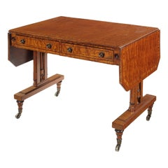 Regency Fiddle-Back Mahogany, Tulipwood Banded and Ebonised Sofa Table