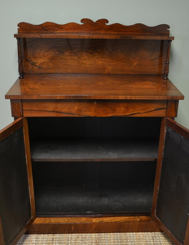 Spectacular Regency figured rosewood mirrored antique chiffonier / cupboard