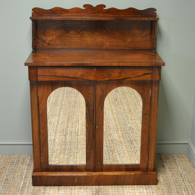 Regency Figured Rosewood Mirrored Antique Chiffonier / Cupboard For Sale 2