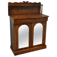 Regency Figured Rosewood Mirrored Antique Chiffonier / Cupboard