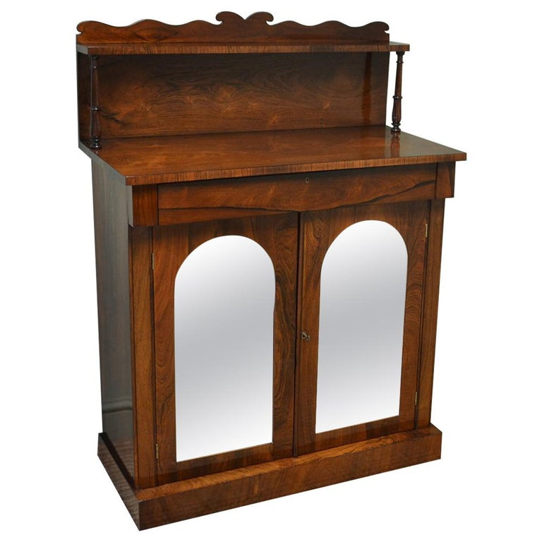 Regency Figured Rosewood Mirrored Antique Chiffonier / Cupboard For Sale