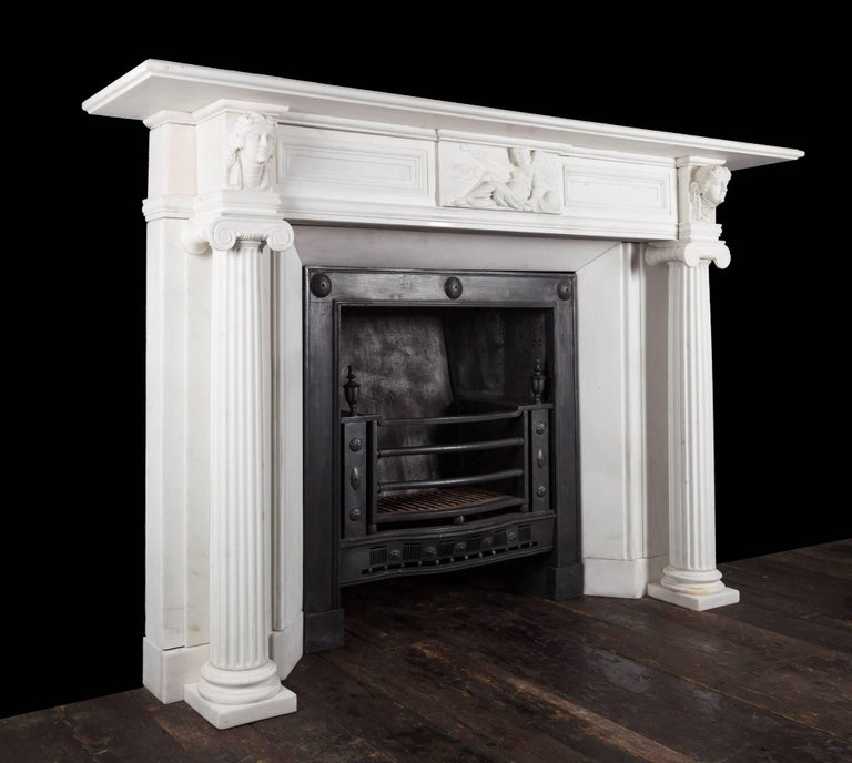 Carrara Marble Regency Fireplace For Sale