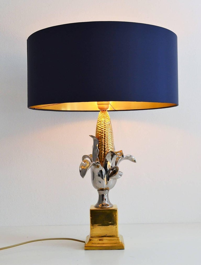 Regency french ceramic corn lamp 1970s at 1stdibs a beautiful table lamp made of ceramic and painted in shiny gold and silver full greentooth Gallery