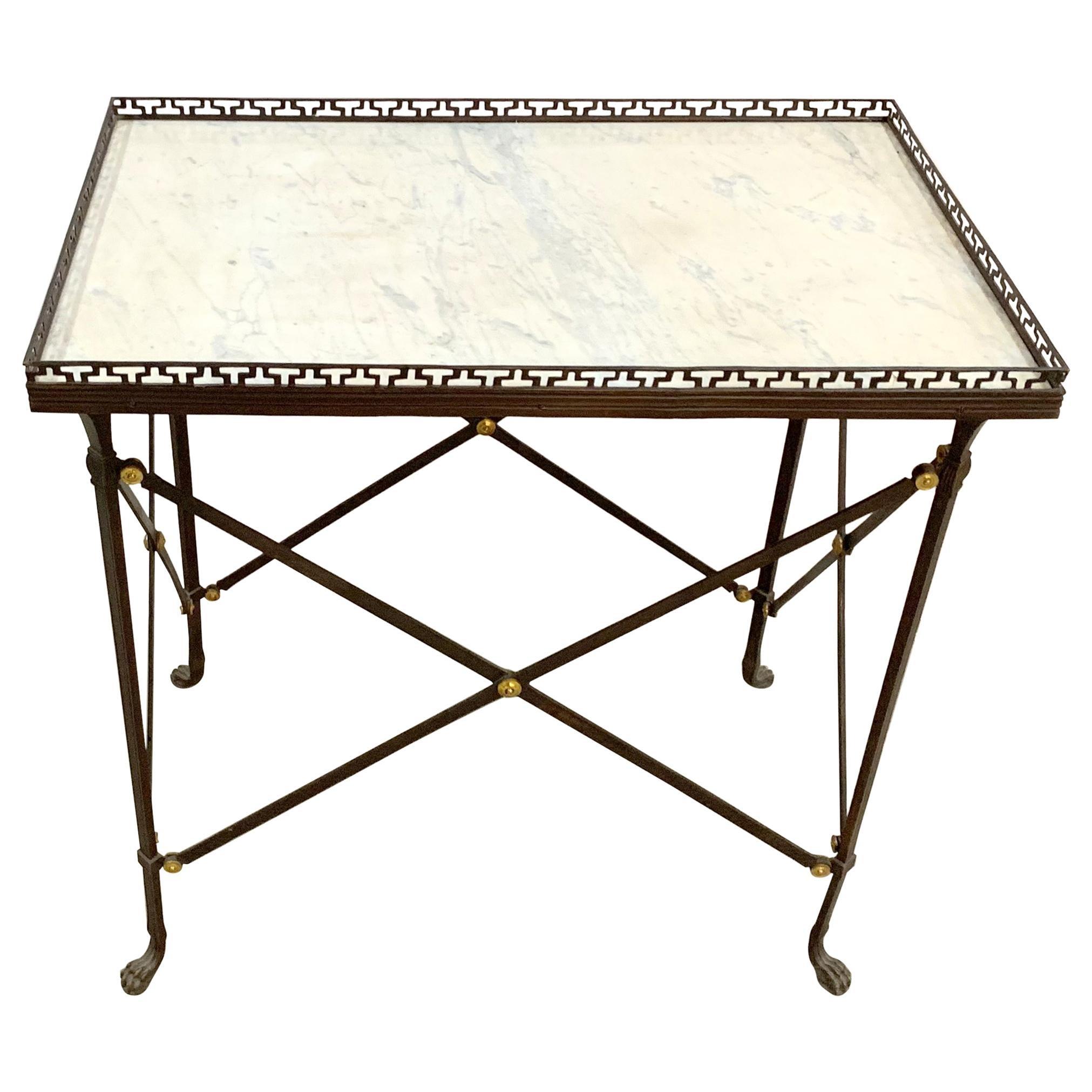 Regency French Ormolu Bronze Marble Top Gallery Gueridon Side Table Paw Feet