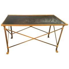 Regency French Ormolu Bronze Mirrored Gueridon Coffee Table Paw Feet Lorin Marsh