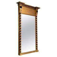 Regency Gilt and Ebonized Pier Mirror